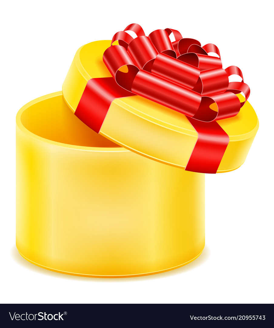 Open gift box with bow and ribbon stock