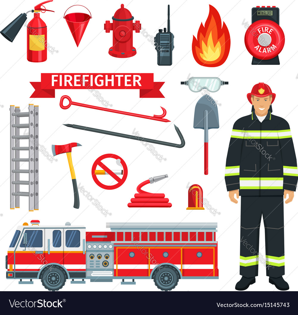 Profession of fireman or firefighter tools