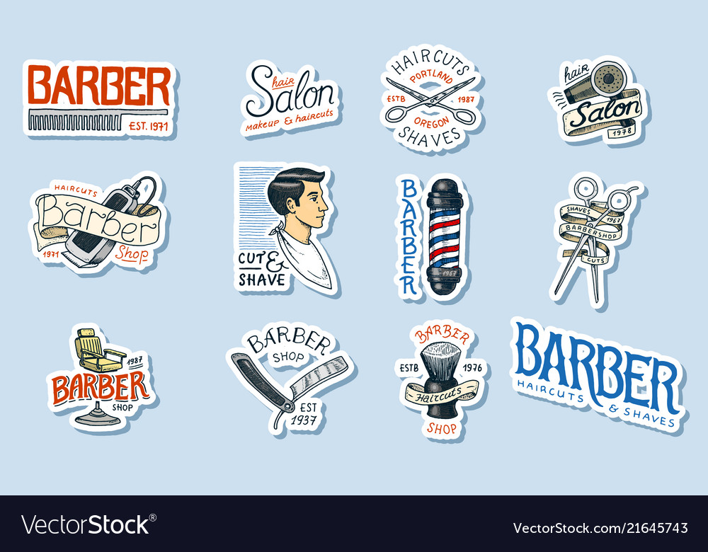 Set of barbershop logo tools for man icon