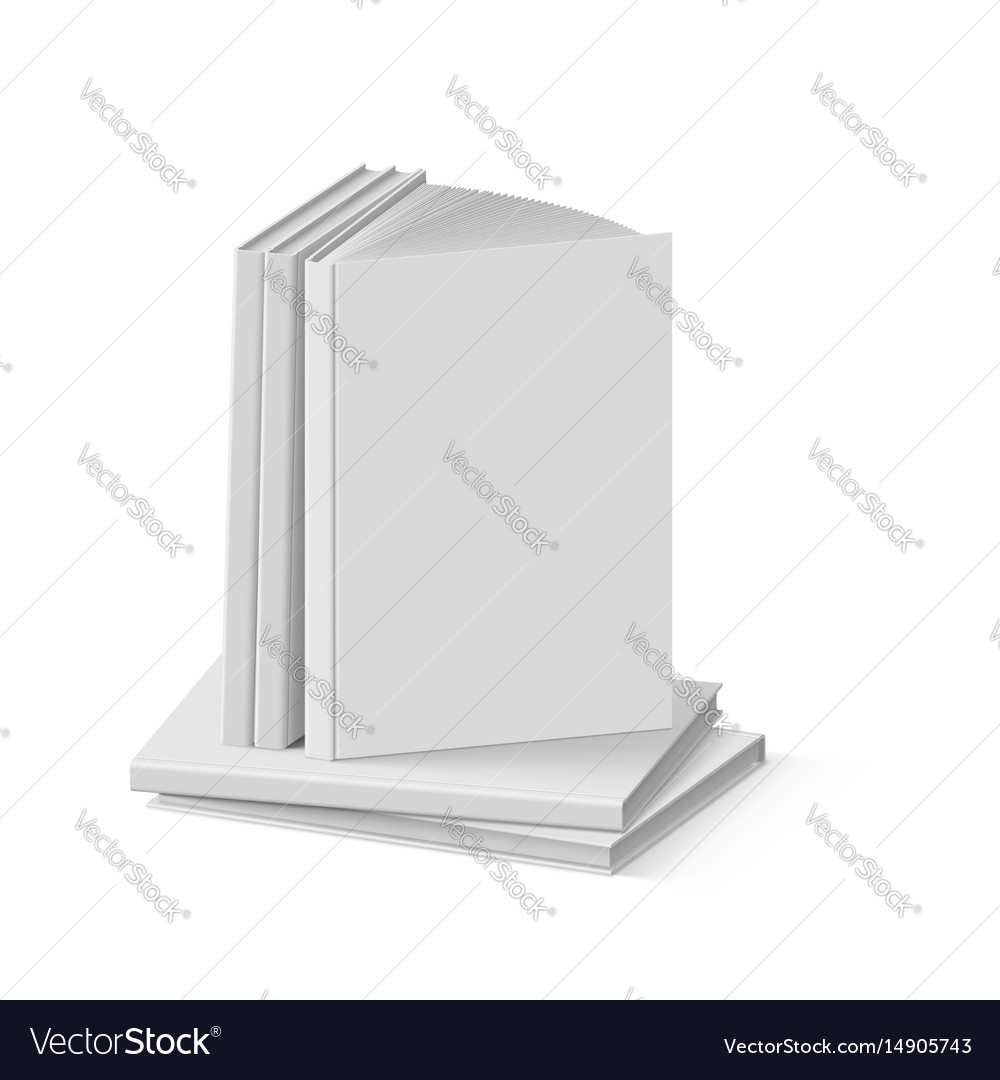 Stack of blank gray books on white background vector image