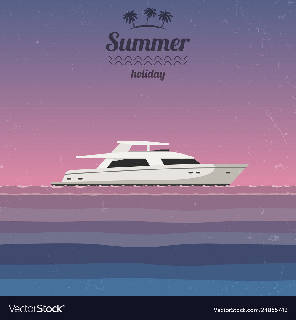 Sunset at sea with a yacht