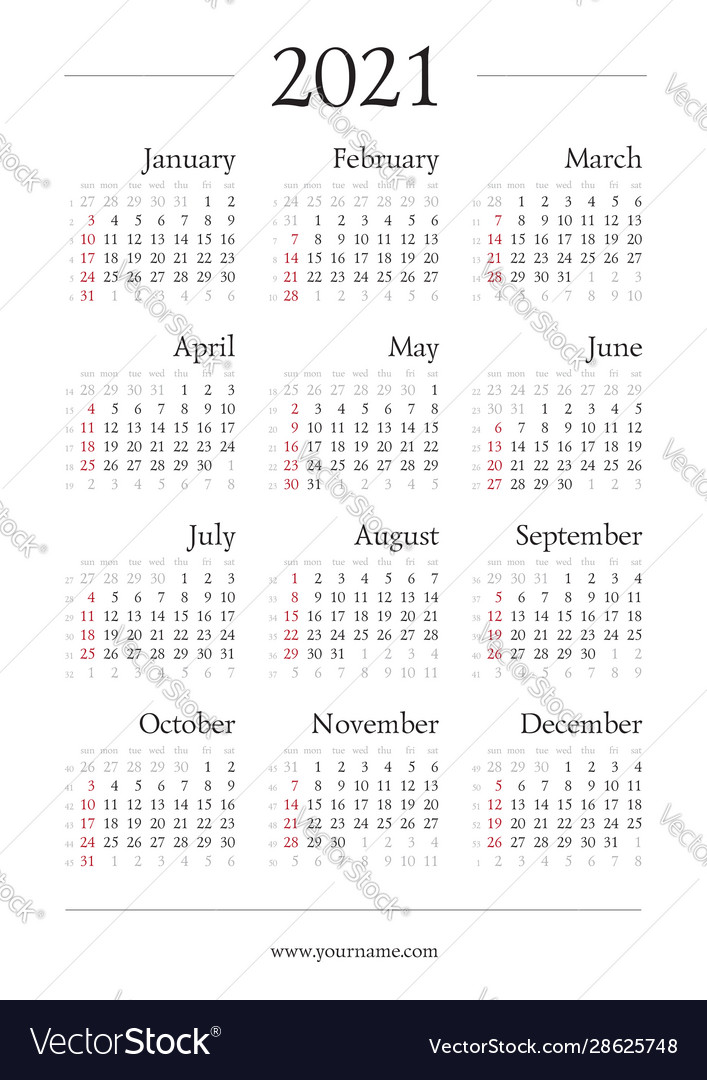 Classic gregorian calendar for 2021 year a4 page Vector Image