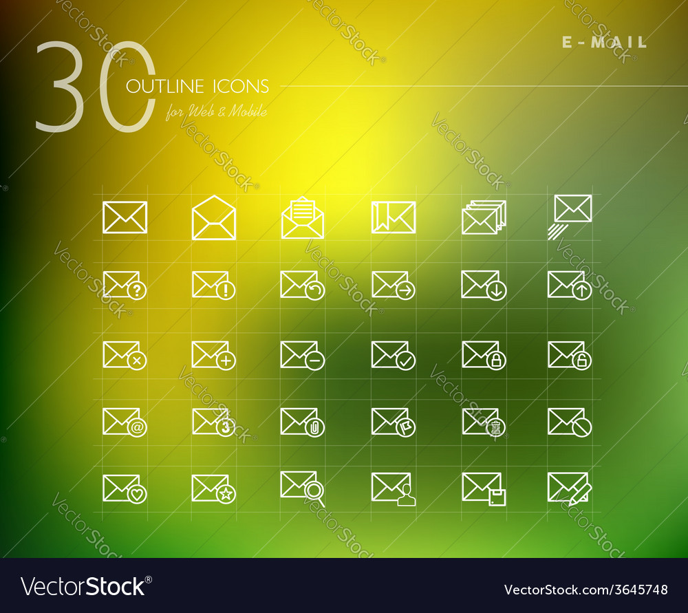 Emailing status outline icons set