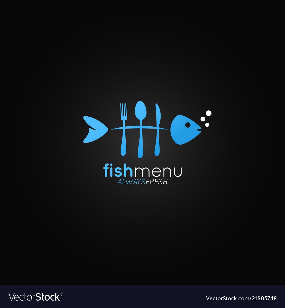 Fish logo menu fish bones in the form of a fork