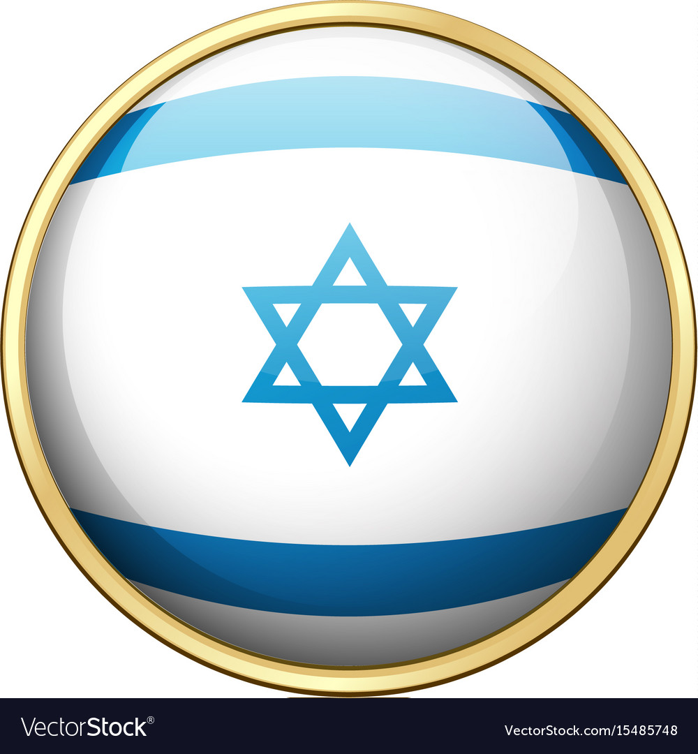 flag of israel on round badge royalty free vector image