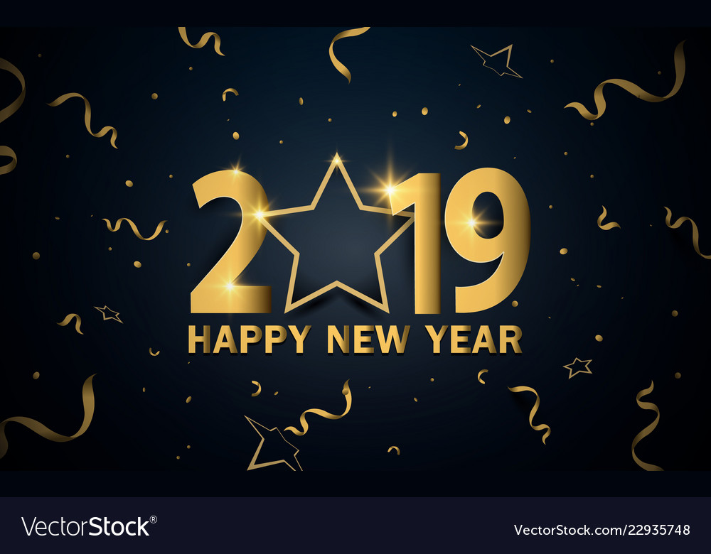 Happy new year 2019 luxury gold with stars