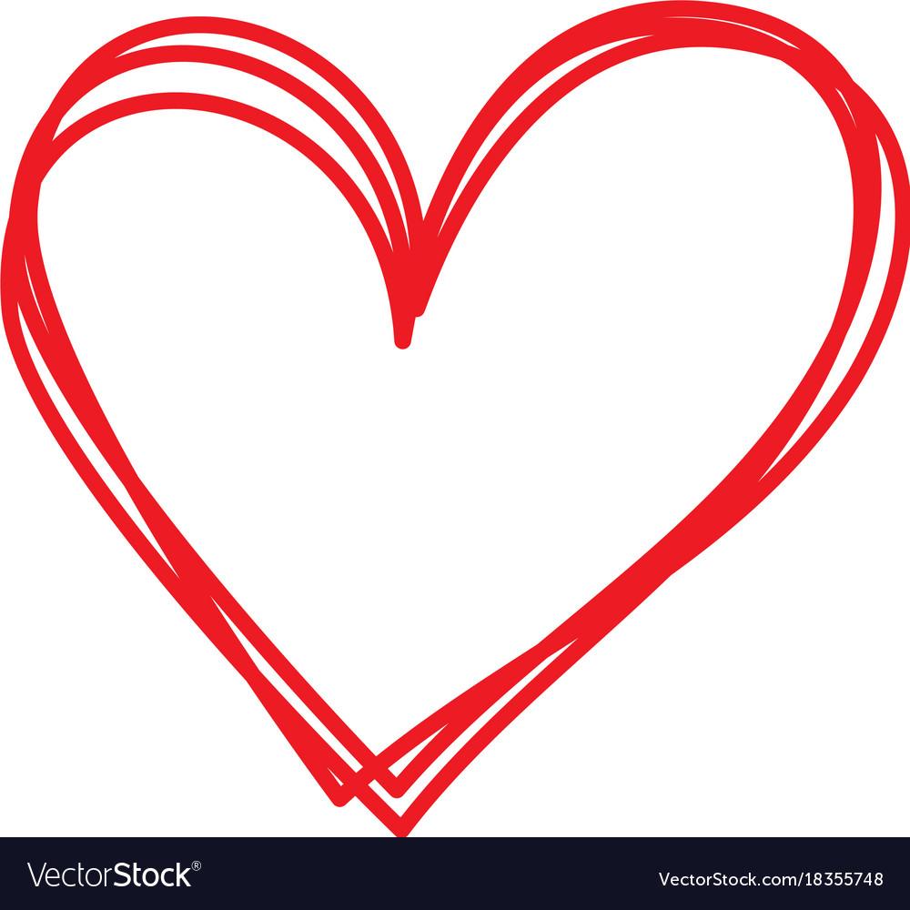 Linear cartoon hand drawn heart doodle Royalty Free Vector