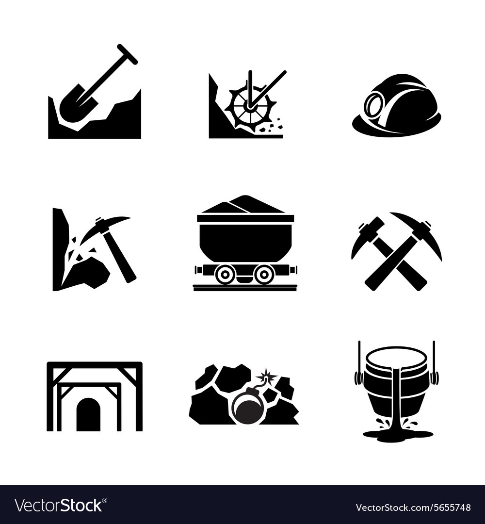 Mining and ore extraction icons