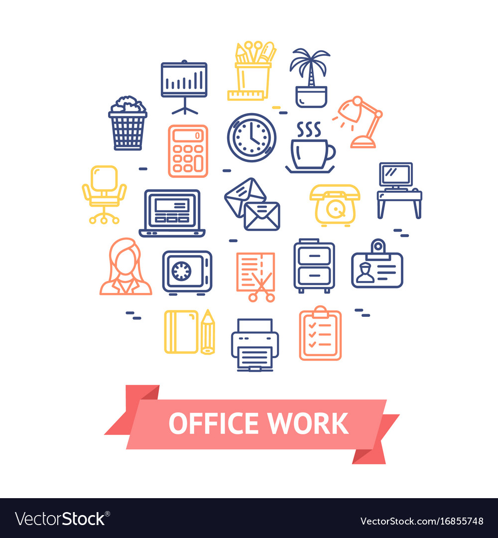 Office work color round design template line icon