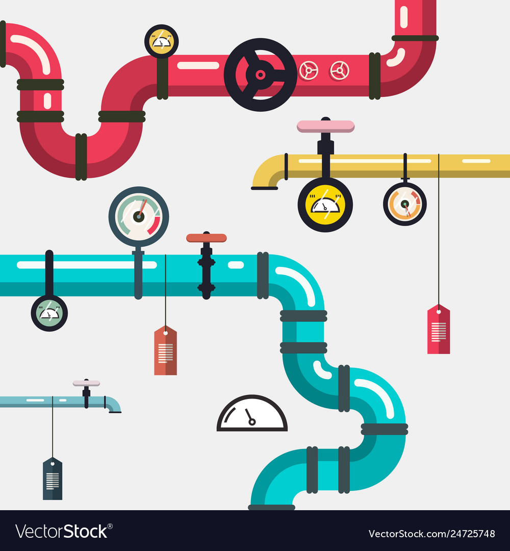 Plumbing - pipeline flat design with pipes and