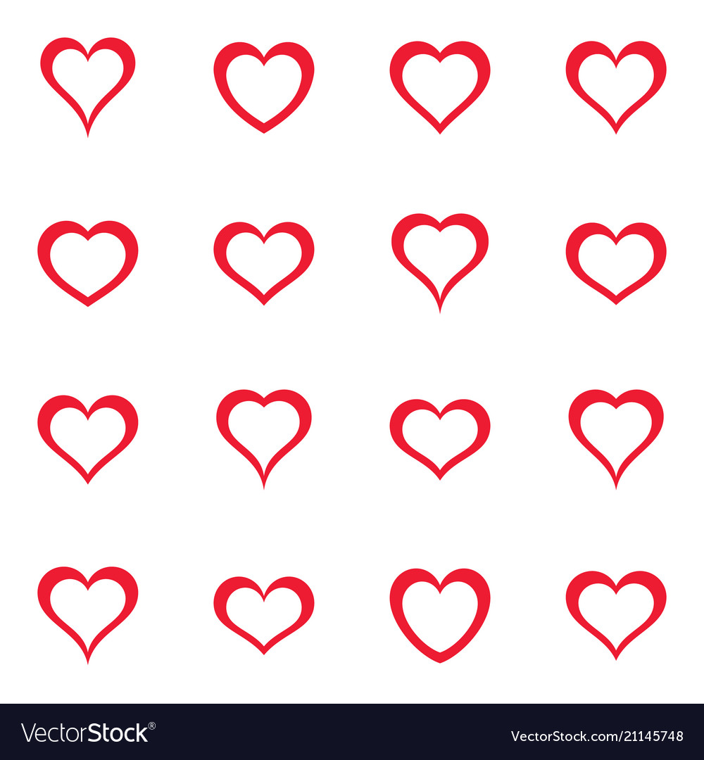 Simple red heart icons collection
