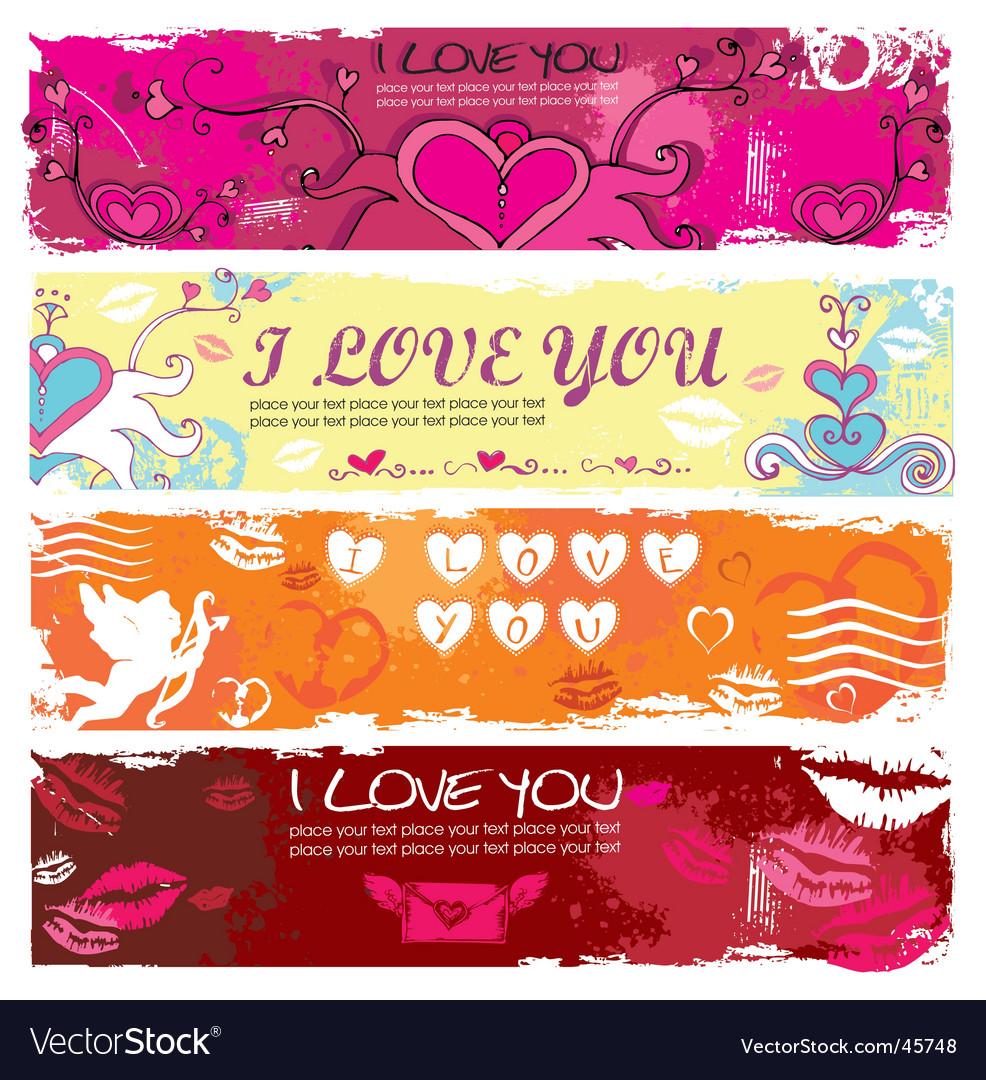 Valentine grunge banners