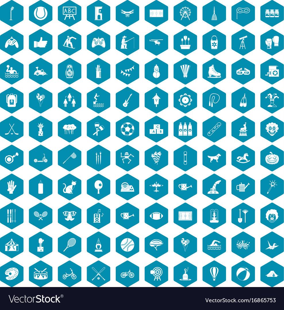 100 kids activity icons sapphirine violet vector image