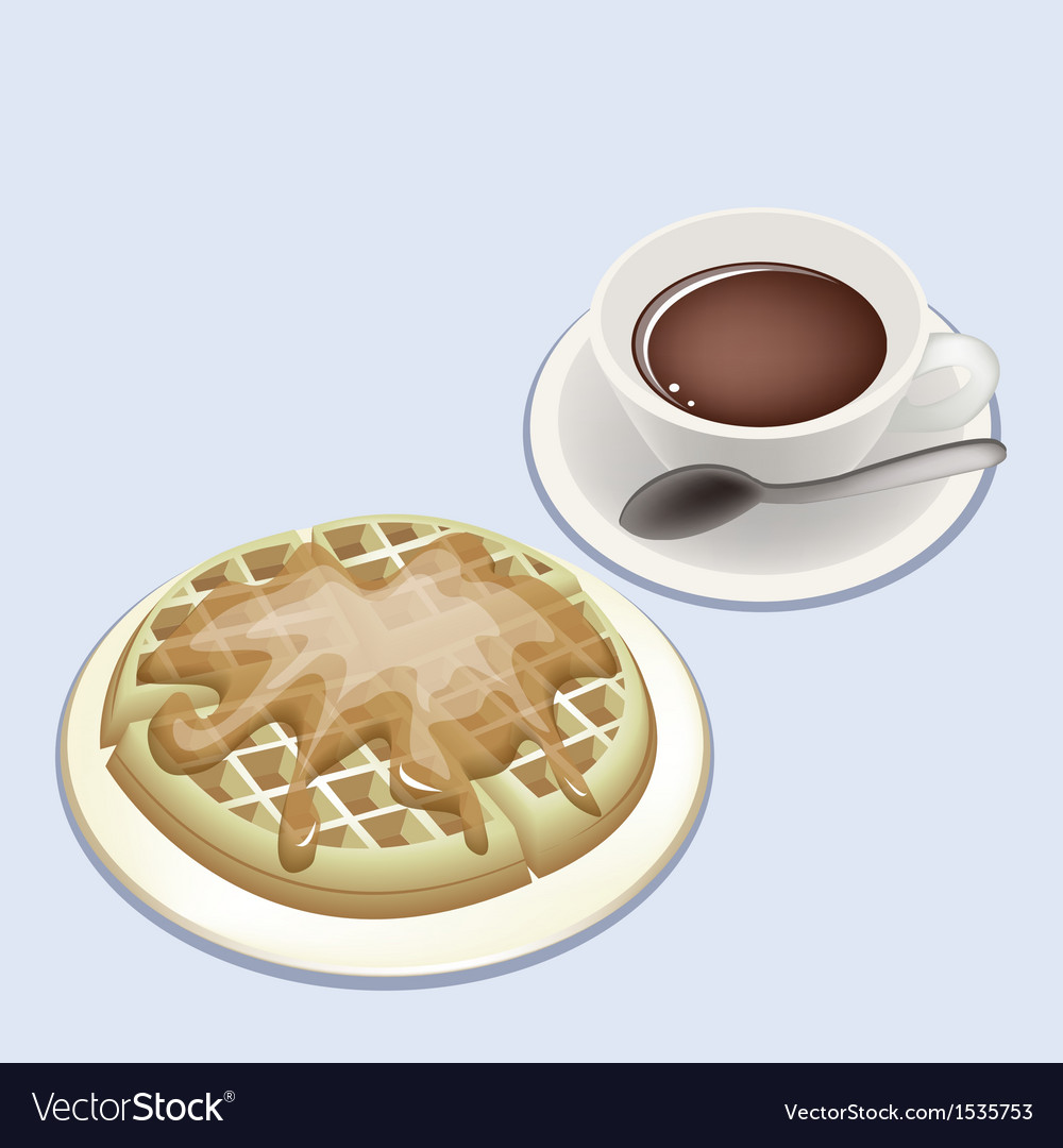 A Smoking Hot Coffee with Round Waffles