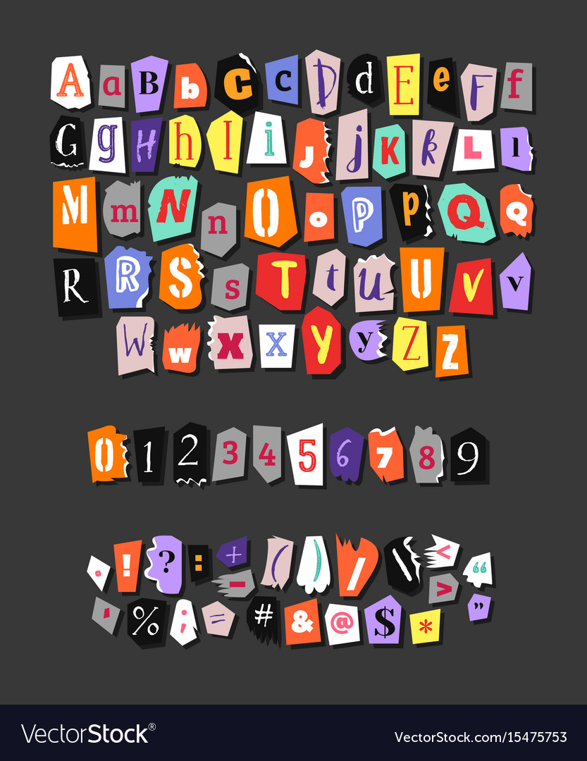 Colorful newspaper alphabet hand made anonymous