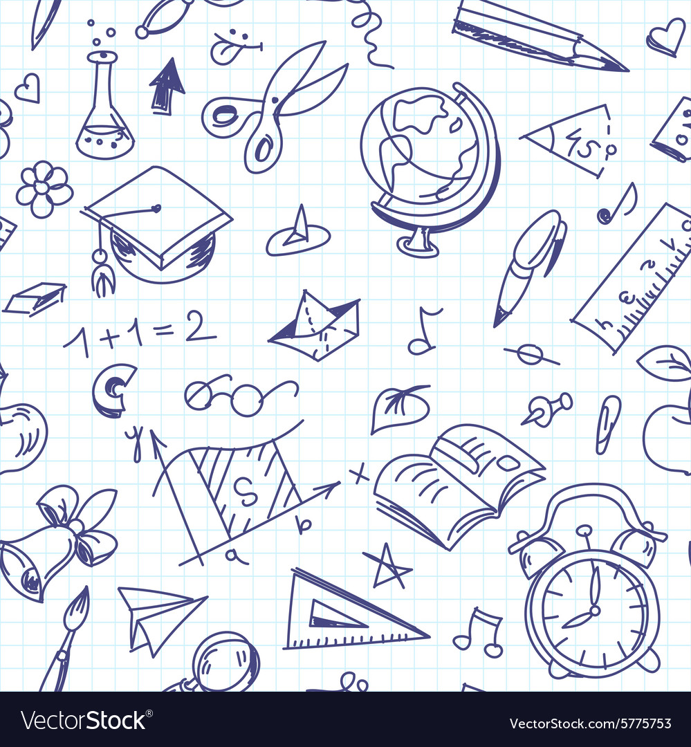 Creative seamless school pattern with pen drawings