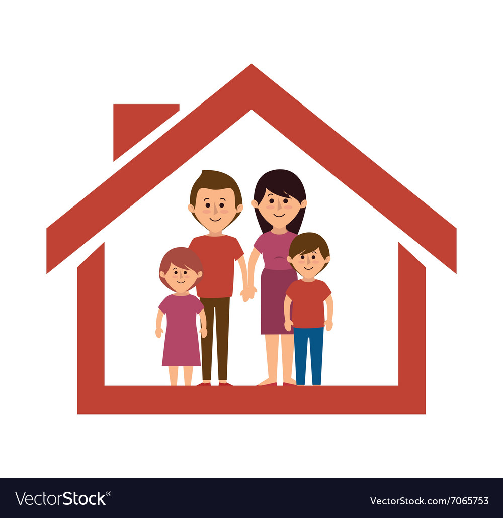 Family colorful cartoon Royalty Free Vector Image