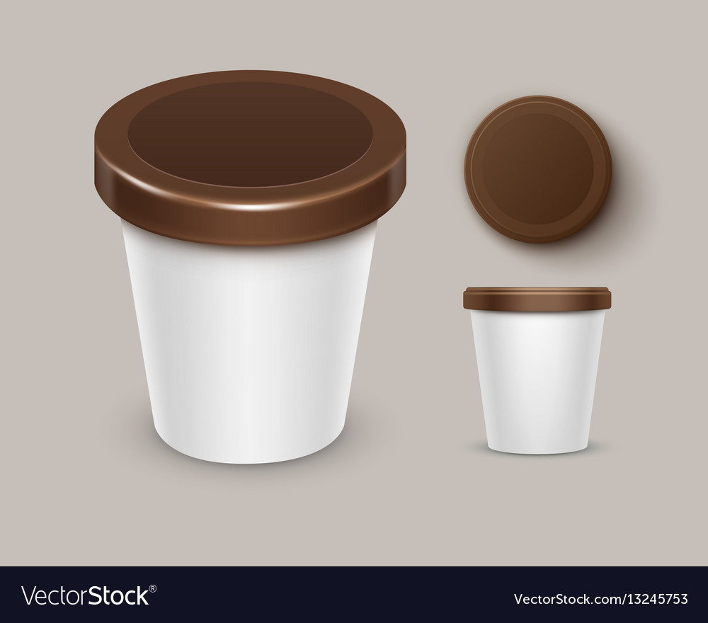 Food plastic tub container for yogurt ice cream Vector Image
