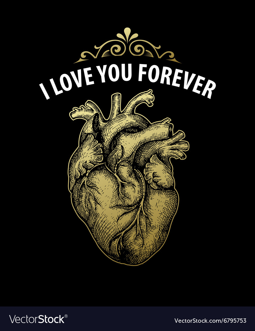Gold Vintage heart Valentine day card Typography