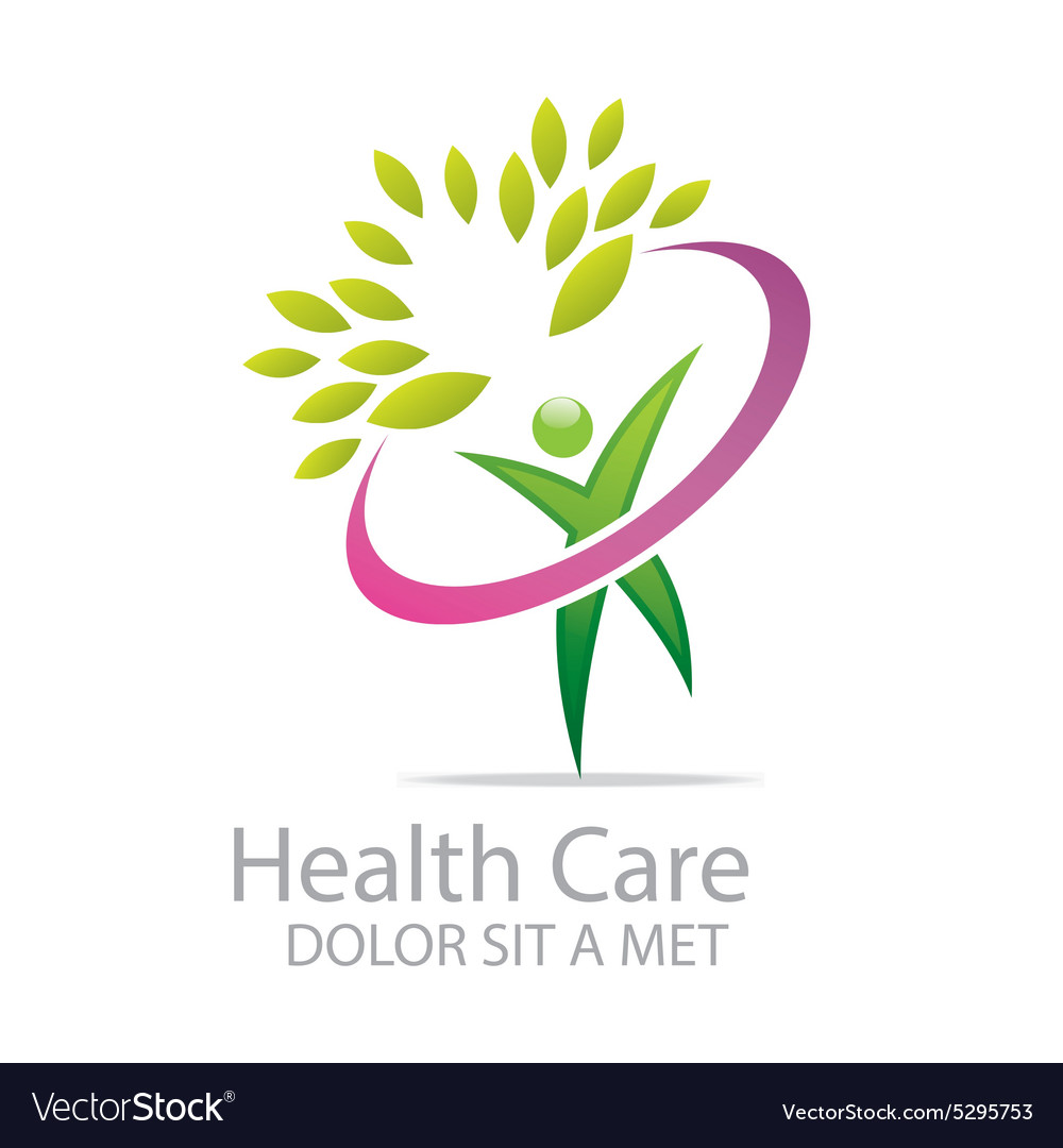 Healthcare logo human character leaves people vector image