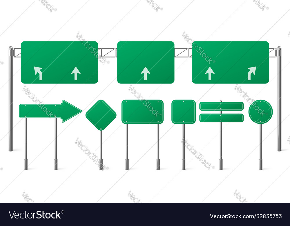 Highway green road signs blank signage boards set