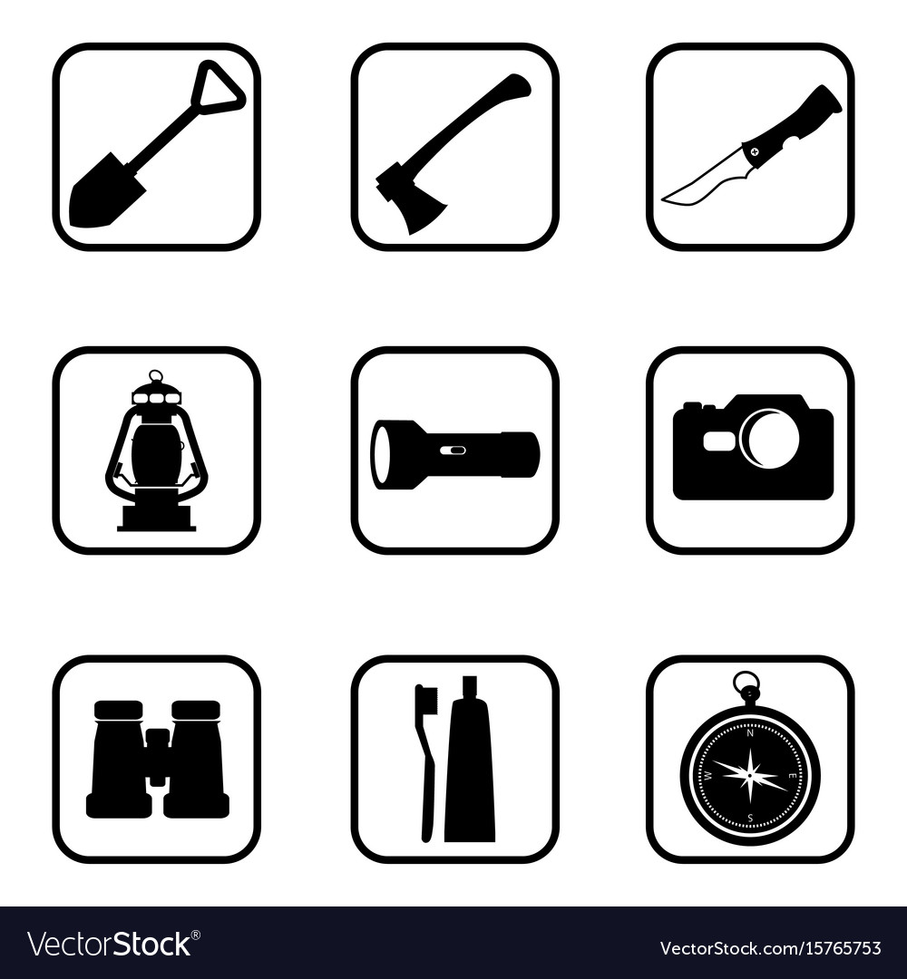 Hiking and camping icons on white background