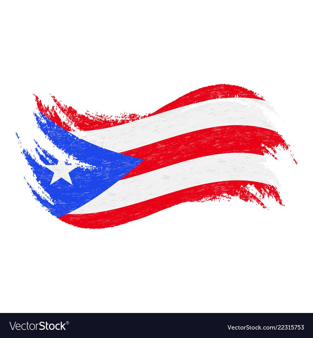National flag puerto rico designed using brush Vector Image