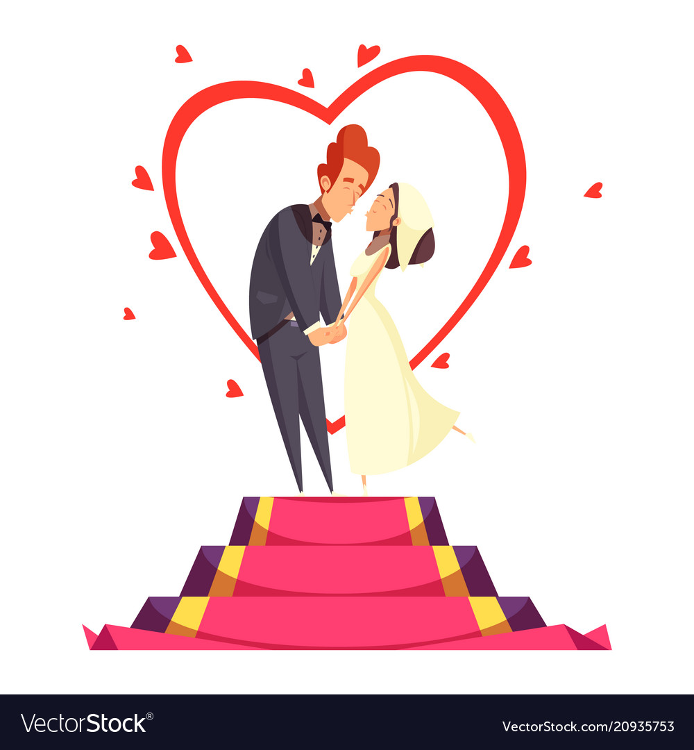 Newlyweds cartoon composition vector image