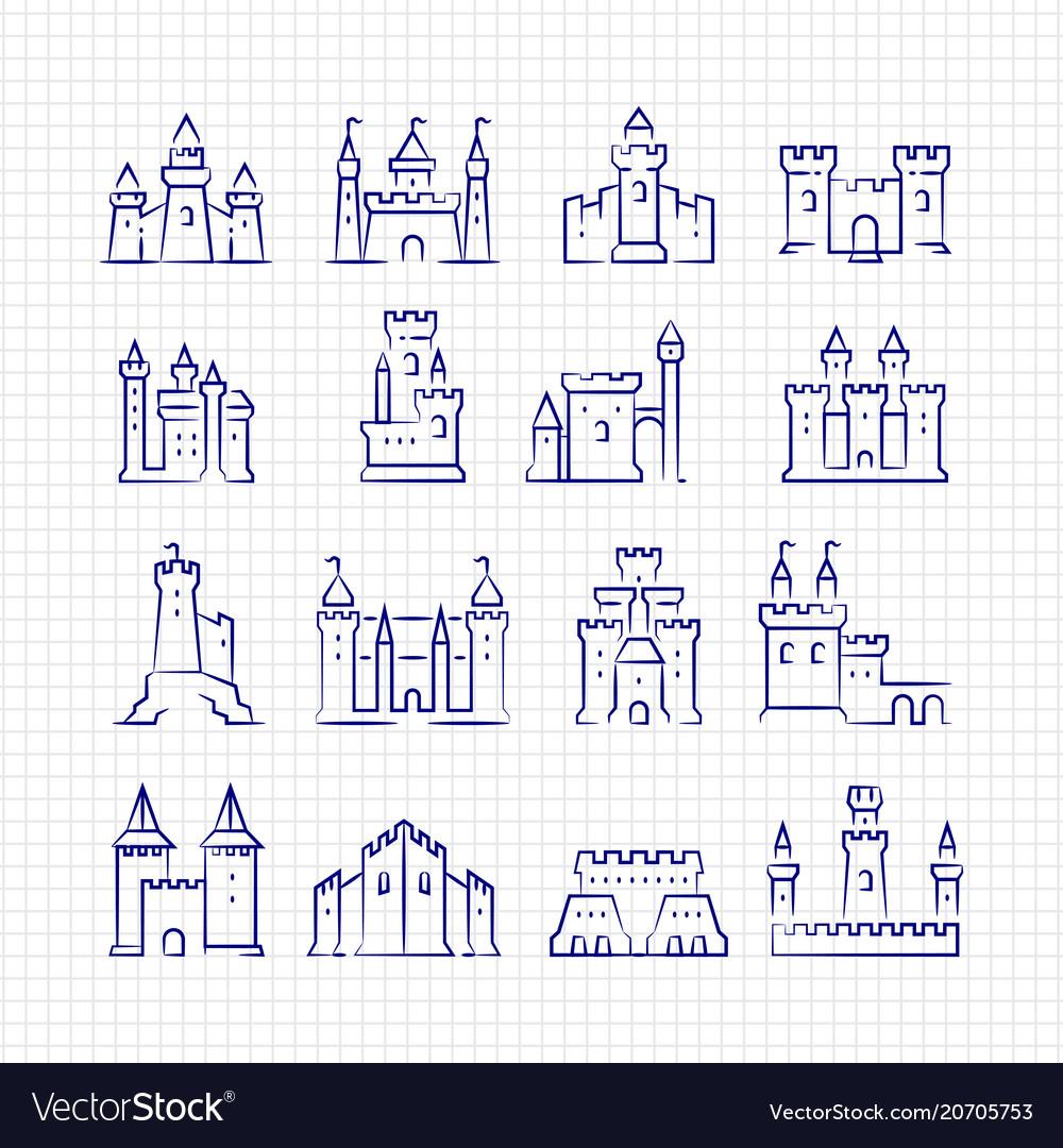 Sketch medieval castles set on lined page