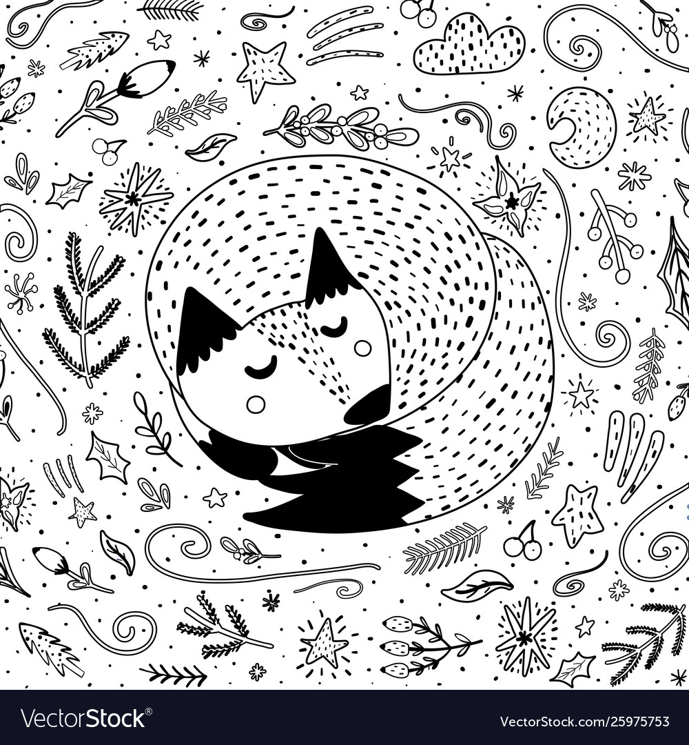 Sleeping fox coloring page for adults and kids