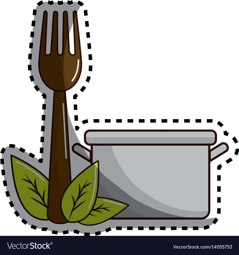 Sticker pot kitchen with fork tool and leaves