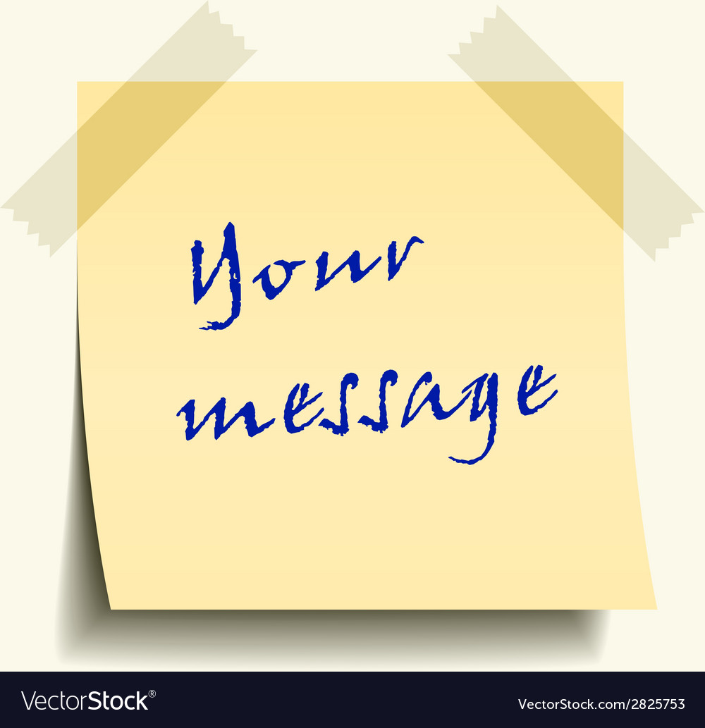 Taped note paper vector image