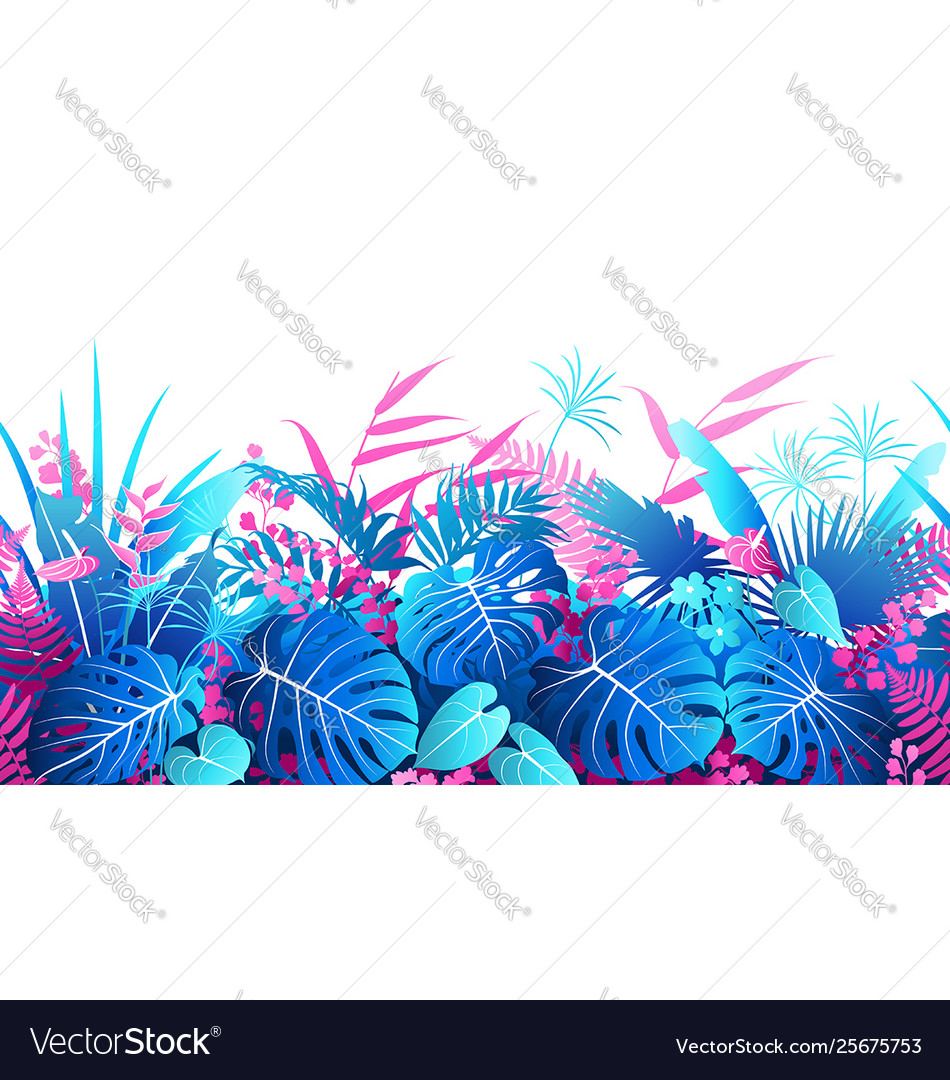 Tropical plants colorful seamless border