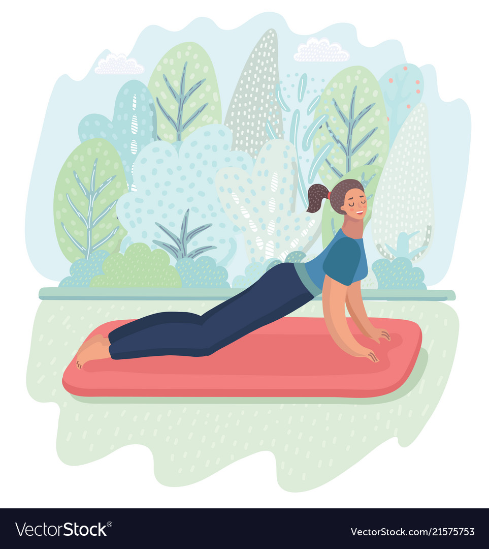 Woman posture yoga with park background