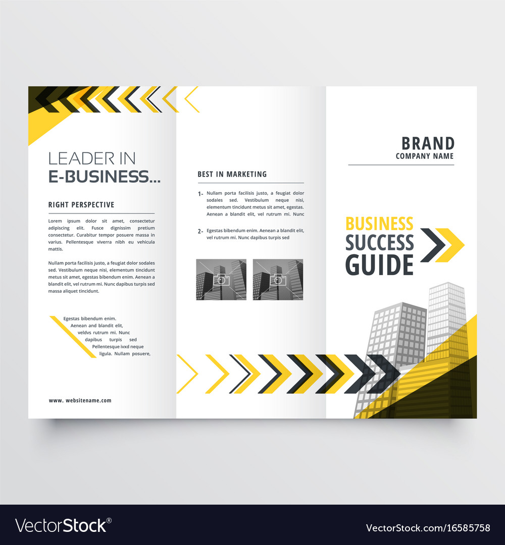 awesome tri fold brochure design in yellow black vector image