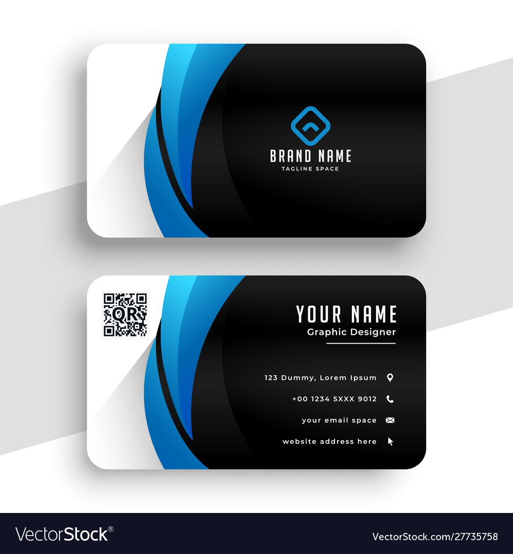 Business card template in blue and black colors