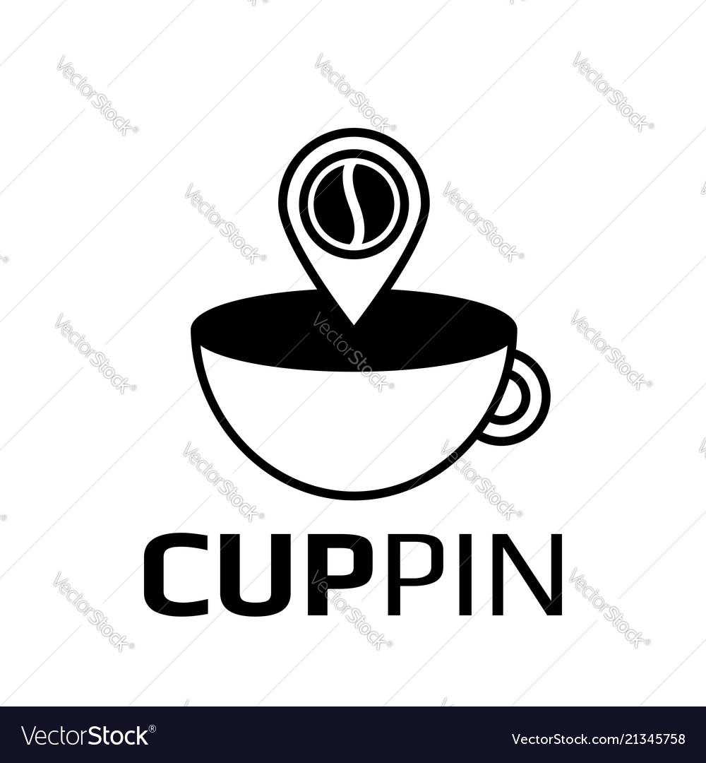 Coffee pointer icon logotype pin
