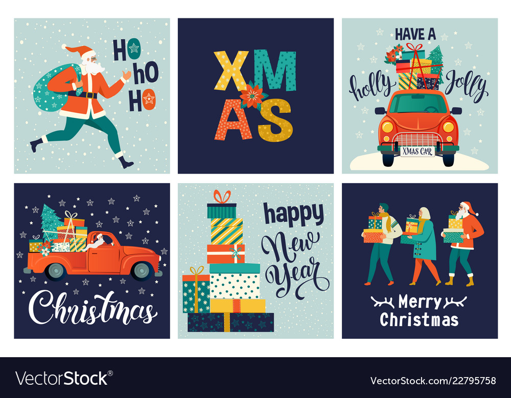 Collection of cute merry christmas and happy new