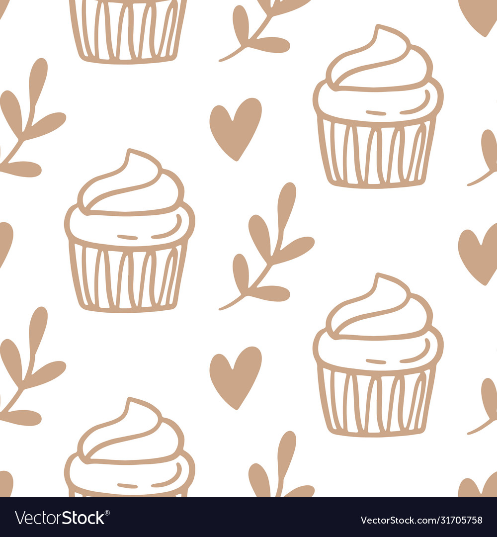 Cupcakes seamless pattern with baked goods
