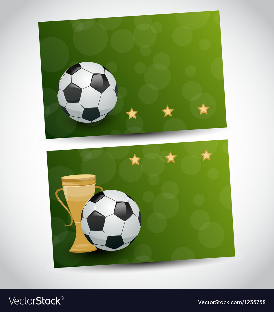 Football cards with champion cup and place for vector image