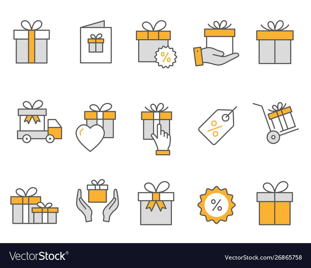 Gift box icons set black