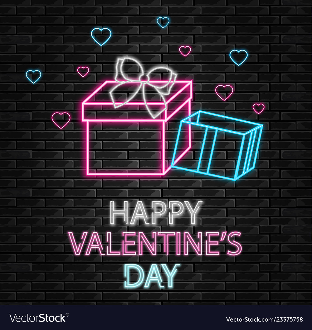 Gift box neon light happy valentine day