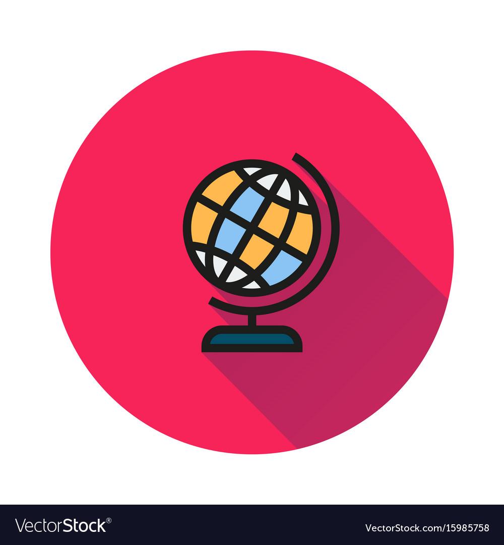 Globe icon on round background vector image