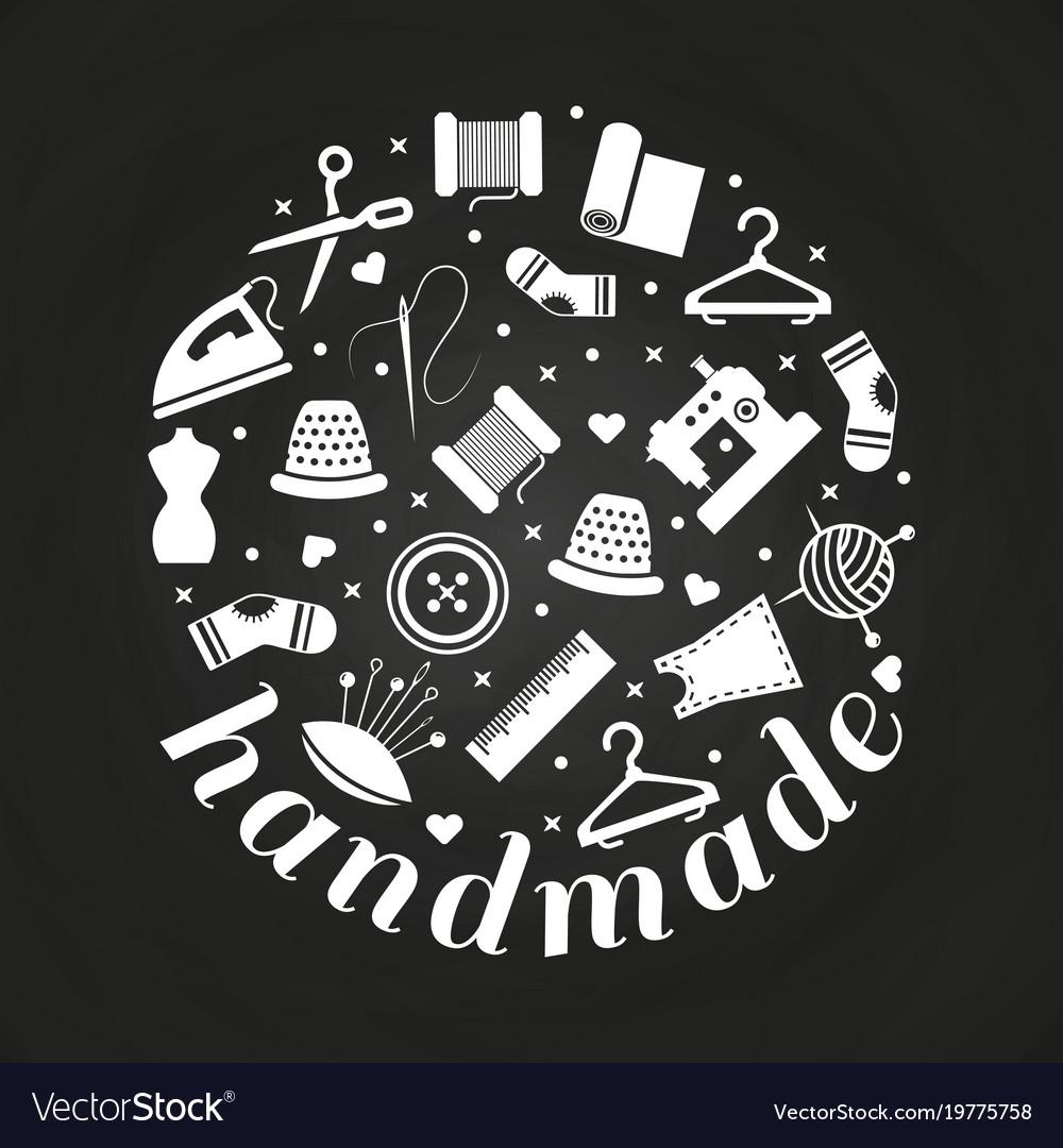 Handmade or handwork round concept