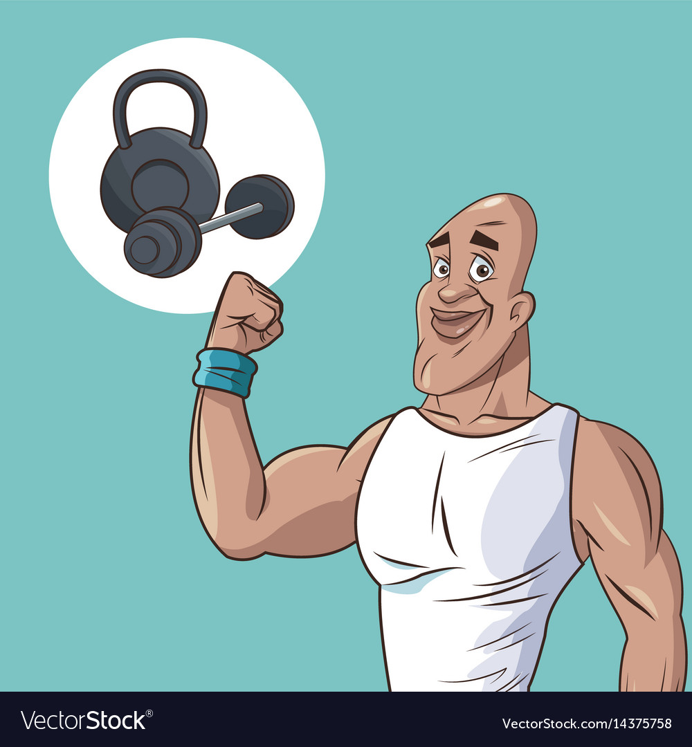 Healthy man athletic muscular weight equipment vector image