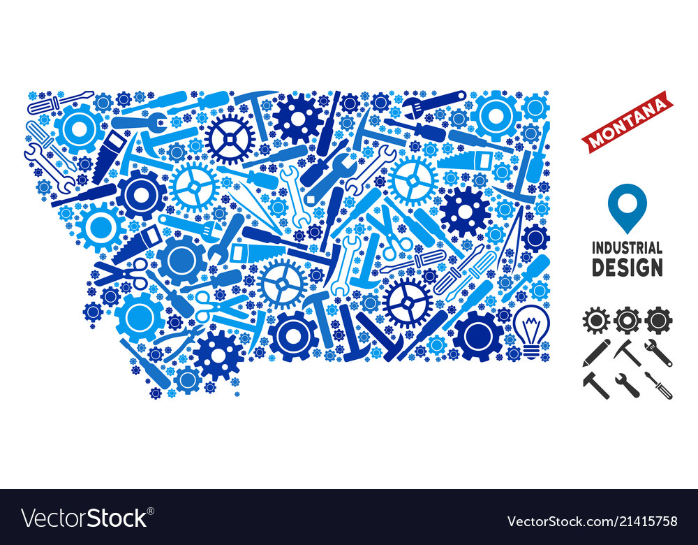 Instrument Montana State Map Mosaic Royalty Free Vector