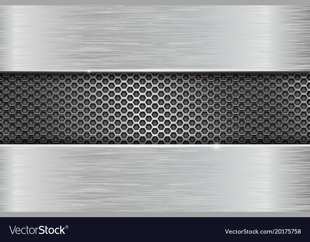 iron brushed metal texture with metal perforation vector image