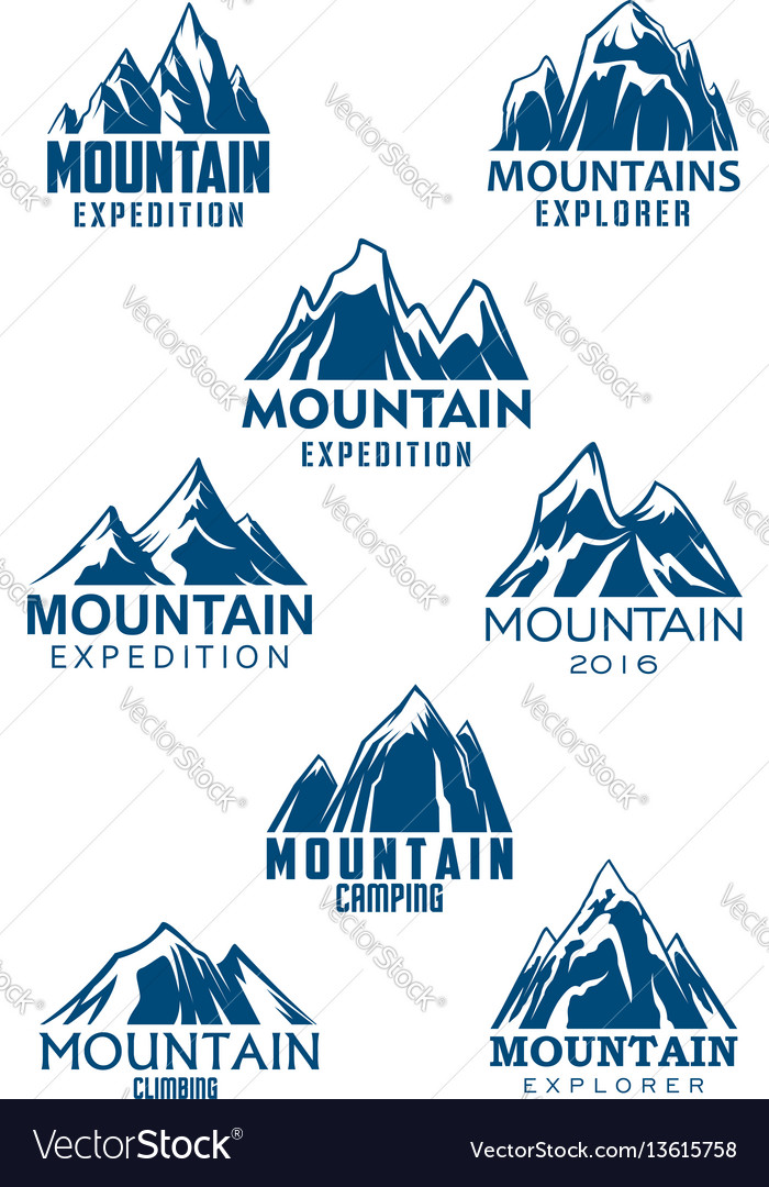 Mountain icons for climbing or hiking sport