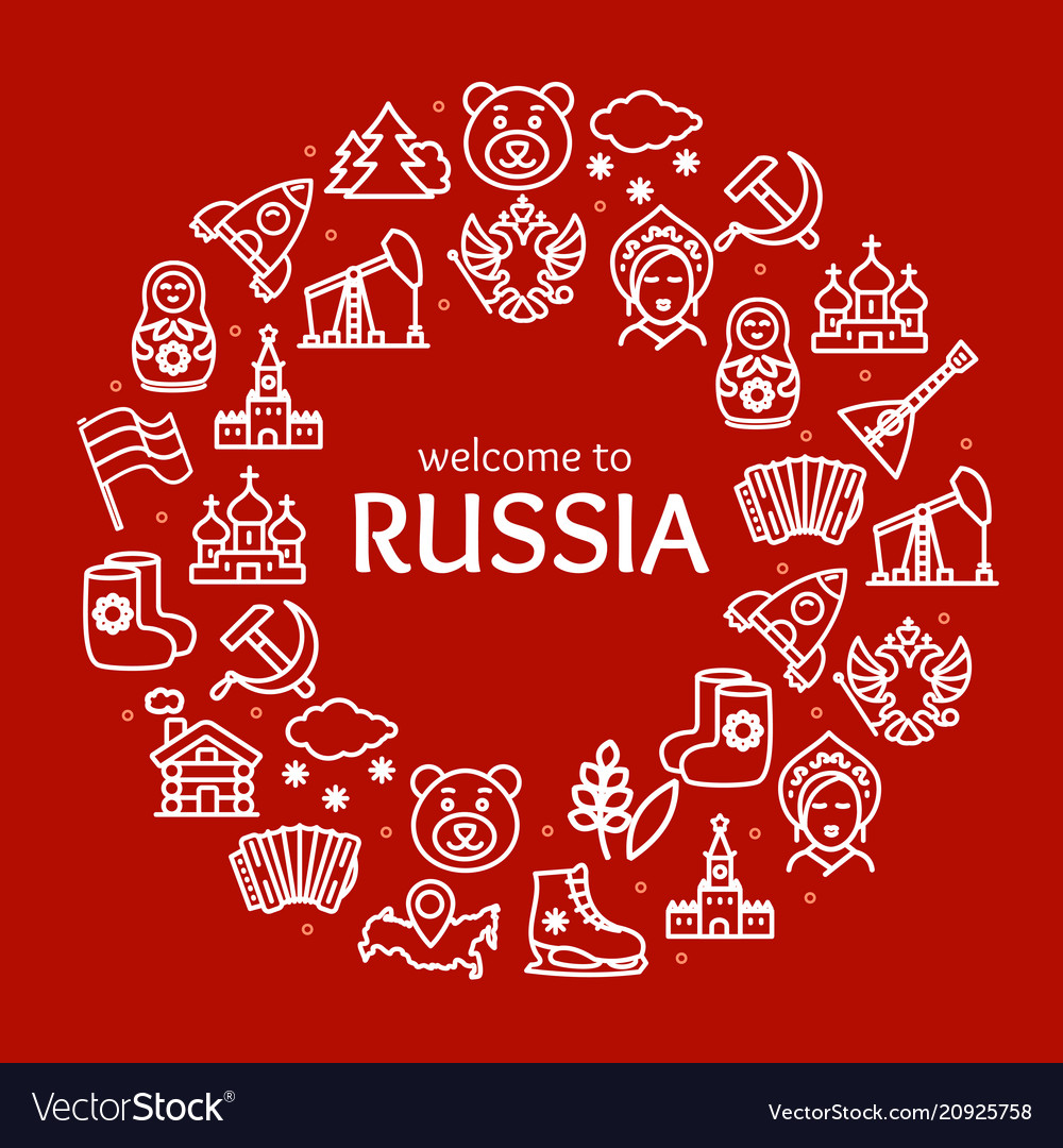 Russia travel and tourism round design template