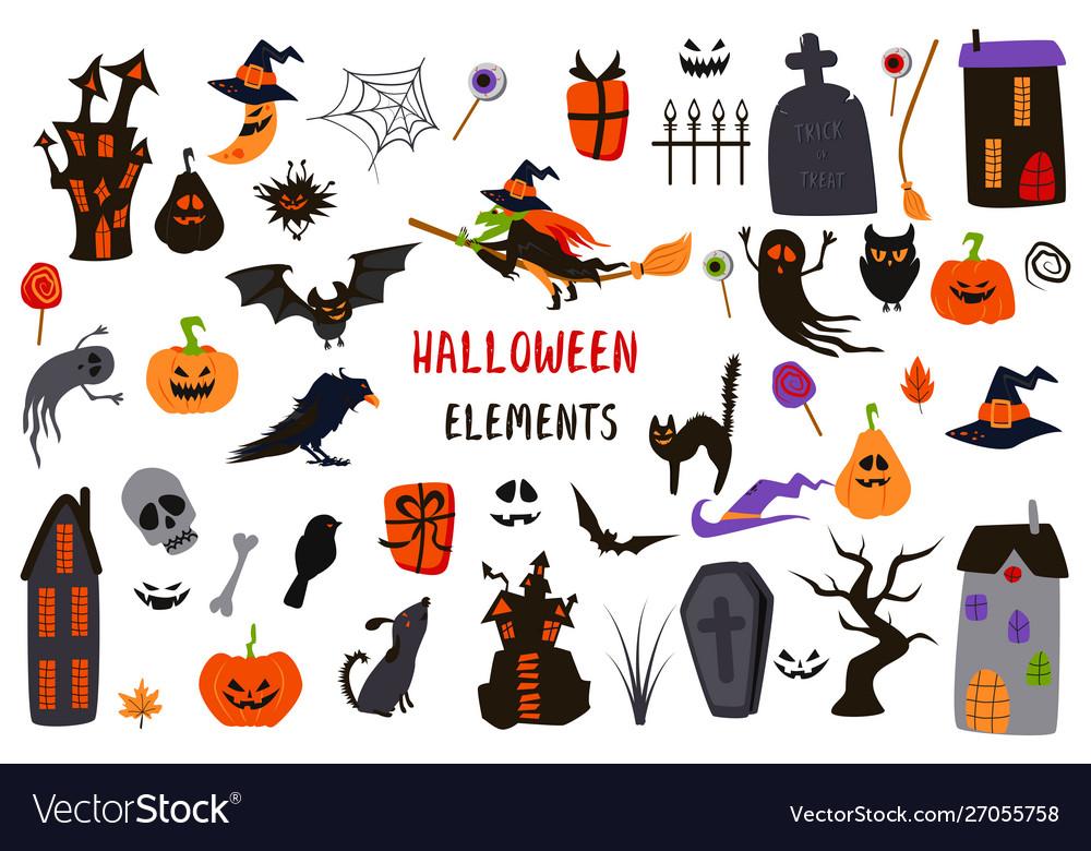 Set isolated halloween elements